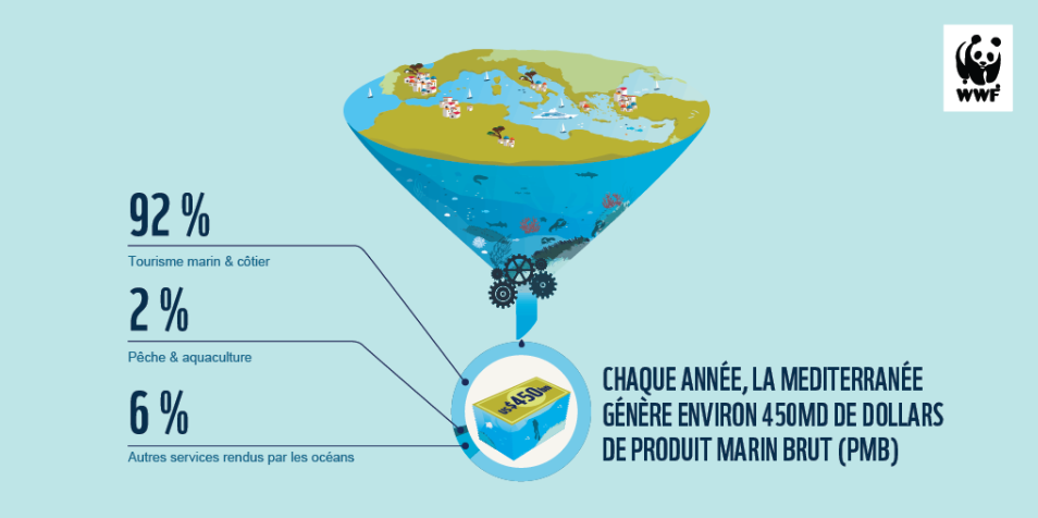 la Méditerranée produit près de 20% de la production marine et fait vivre 150 millions d'individus