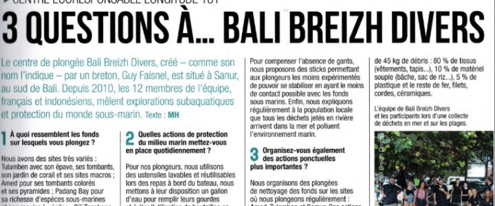 """Retrospective 2019 Bali Breizh Divers mis a l'honneur dans """"Plongez !"""""""